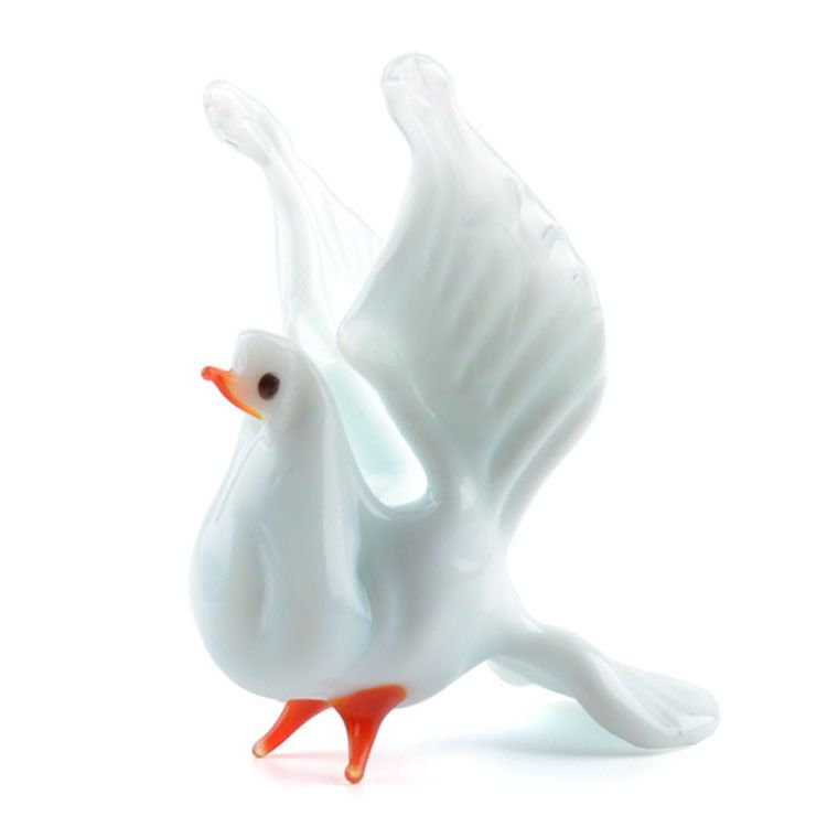 White Dove Miniature Glass Figurine