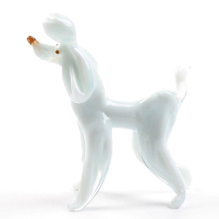 White Poodle Glass Figurine