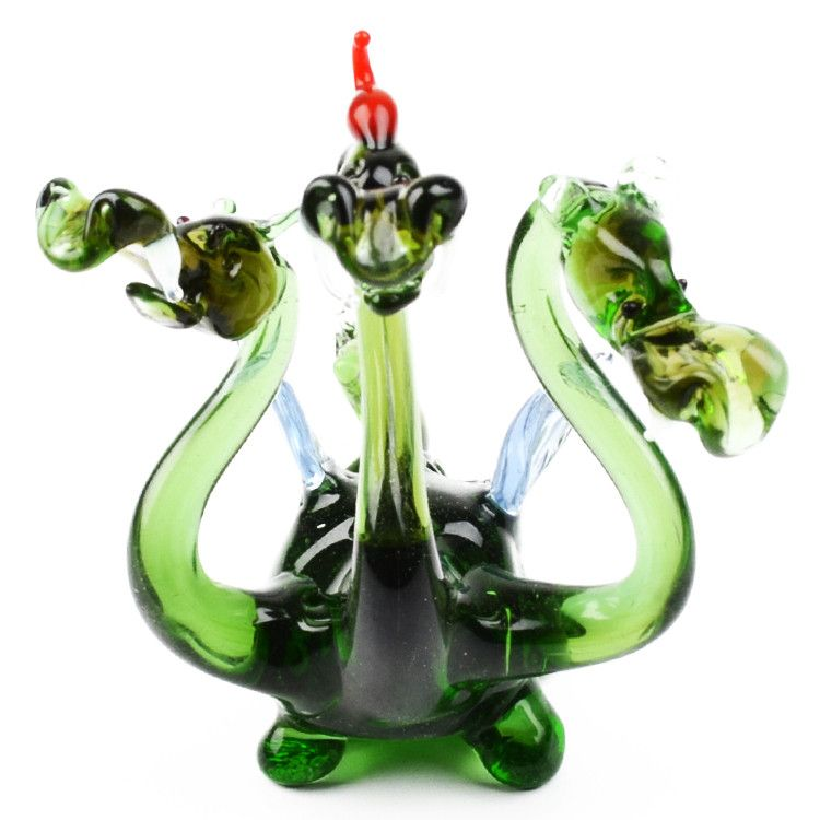 Three-Headed Dragon Glass Figurine