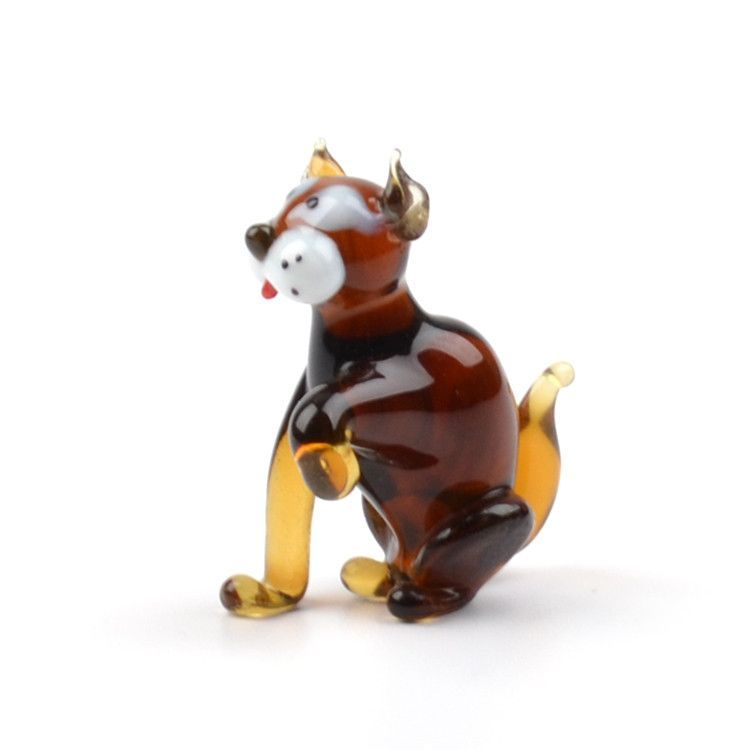 Brown Kitten Glass Figurine