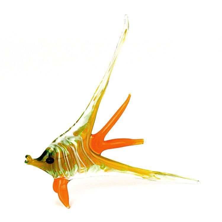 Colorful Angel Fish Glass Figurine