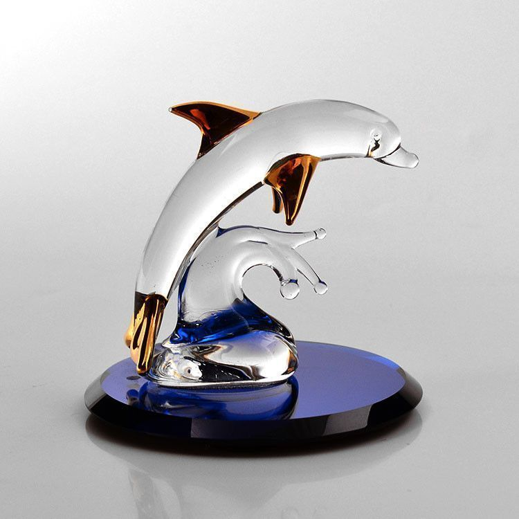Glass Dolphin on Blue