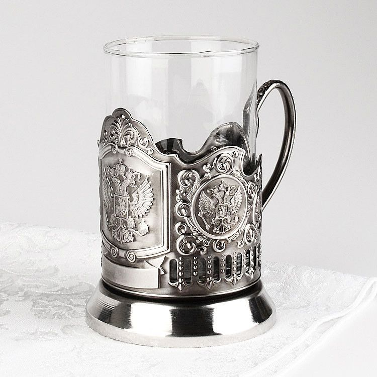 Russian Crest Tea Glass Holder Set