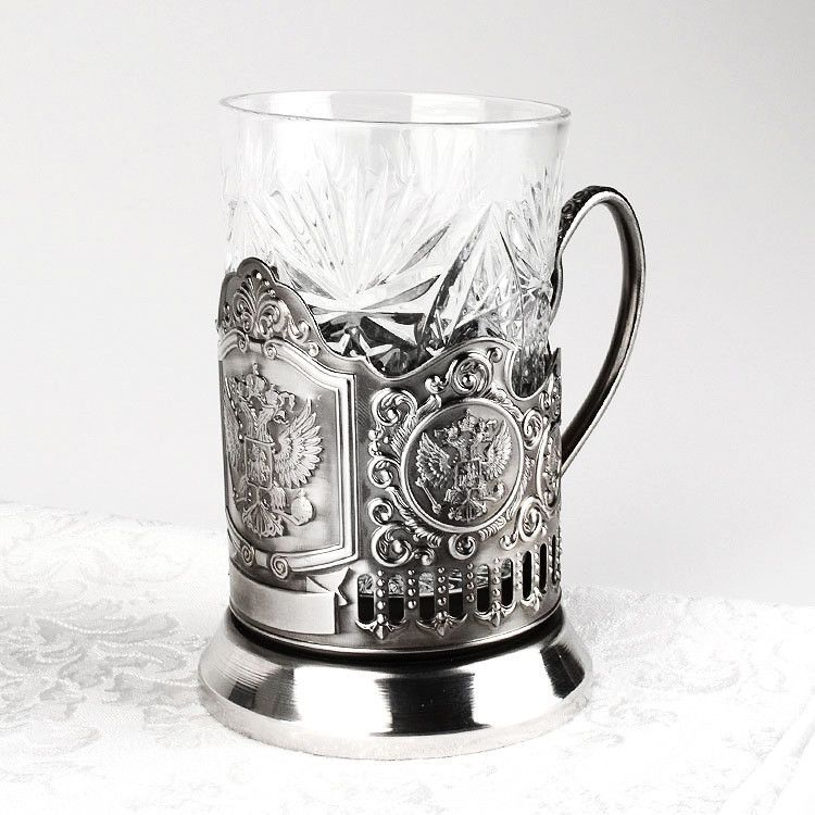 Double Headed Eagle Russian Crest Tea Glass Holder Set