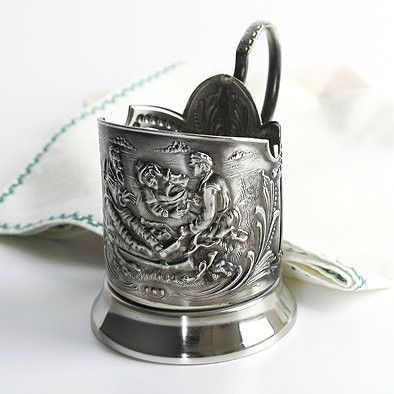 Hunters at Rest Nickel Plated Tea Glass Holder