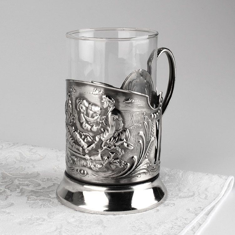 Hunters at Rest Tea Glass Holder Set