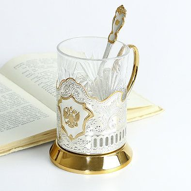 Double Headed Eagle Gold Plated Russian Tea Glass Holder Set