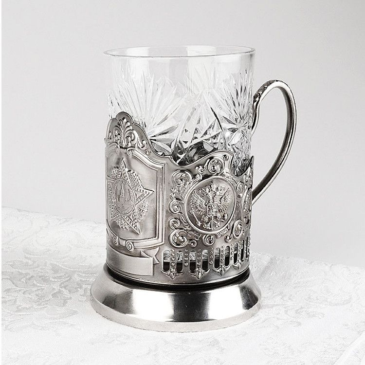 Russian Order of Victory Tea Glass Holder Set