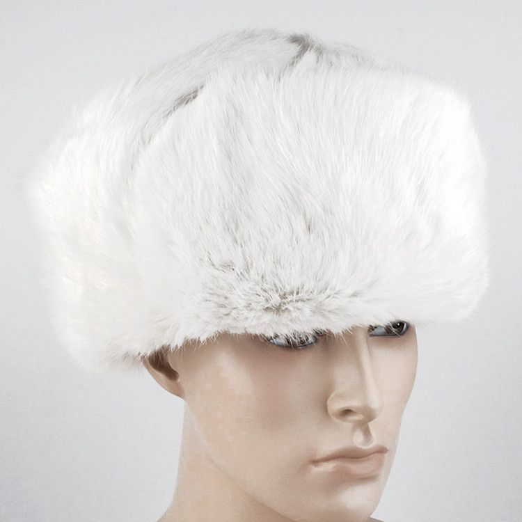 Real Russian White Rabbit Ushanka Hat