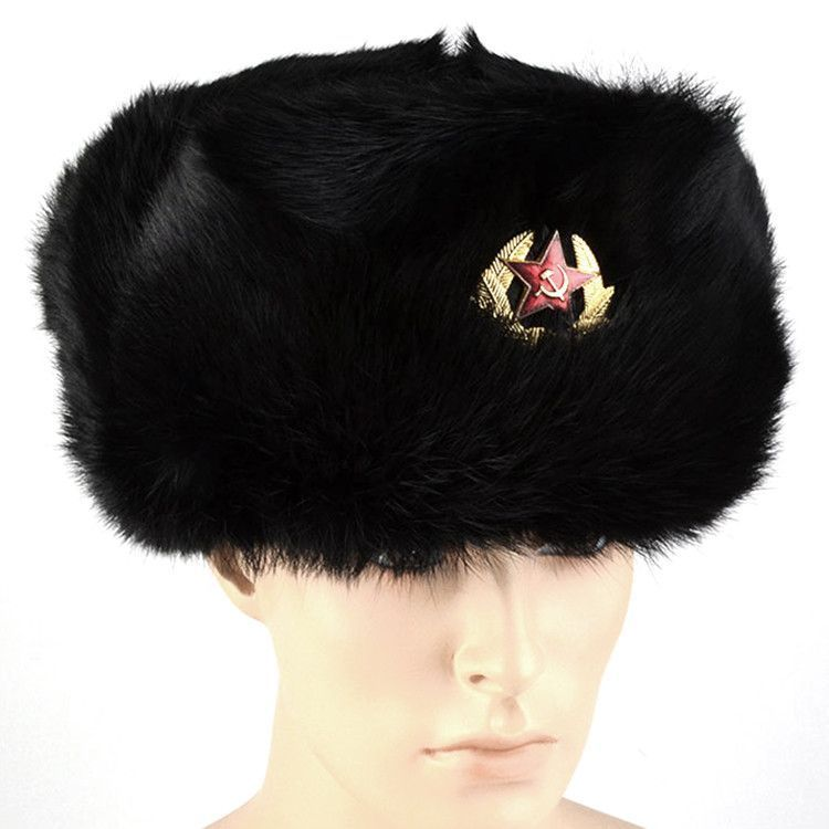 Real Fur Soviet Ushanka with Emblem