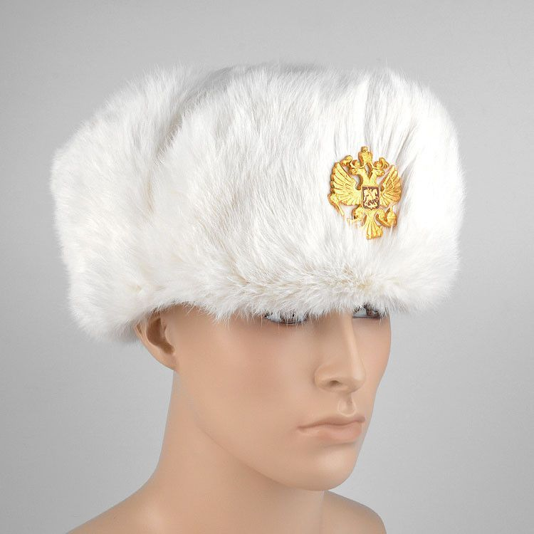 White Rabbit Fur Russian Hat