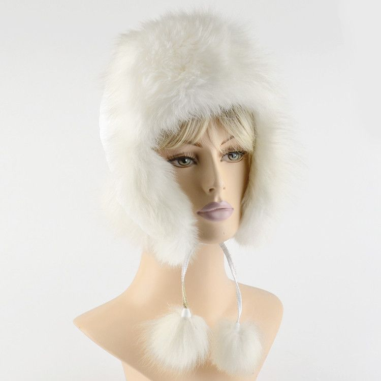 Genuine Polar Fox Fur Bomber Hat