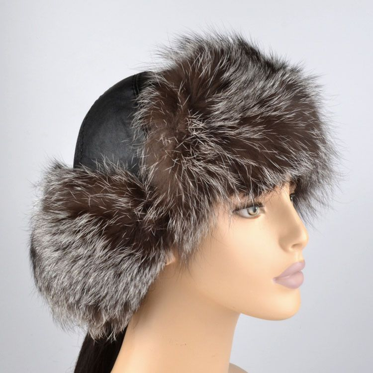 Silver Fox Fur Hat with Pom Poms