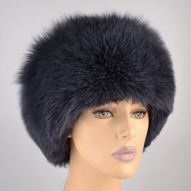 Blue Grey Fur Hat
