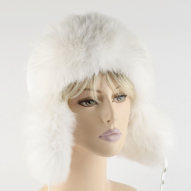 Polar Fox Fur and Leather Hat