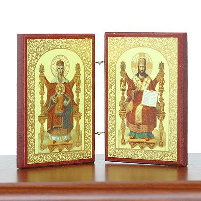 Enthroned Mary and Jesus Diptych Icon