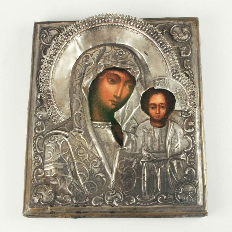 russian antiques  antique mary and jesus riza icon