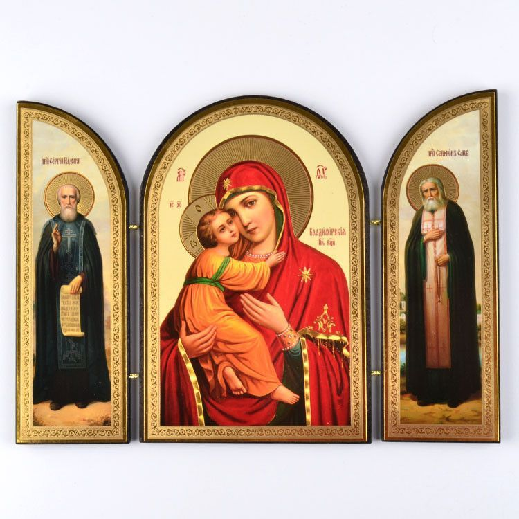 Mary with Jesus & Two Saints Triptych