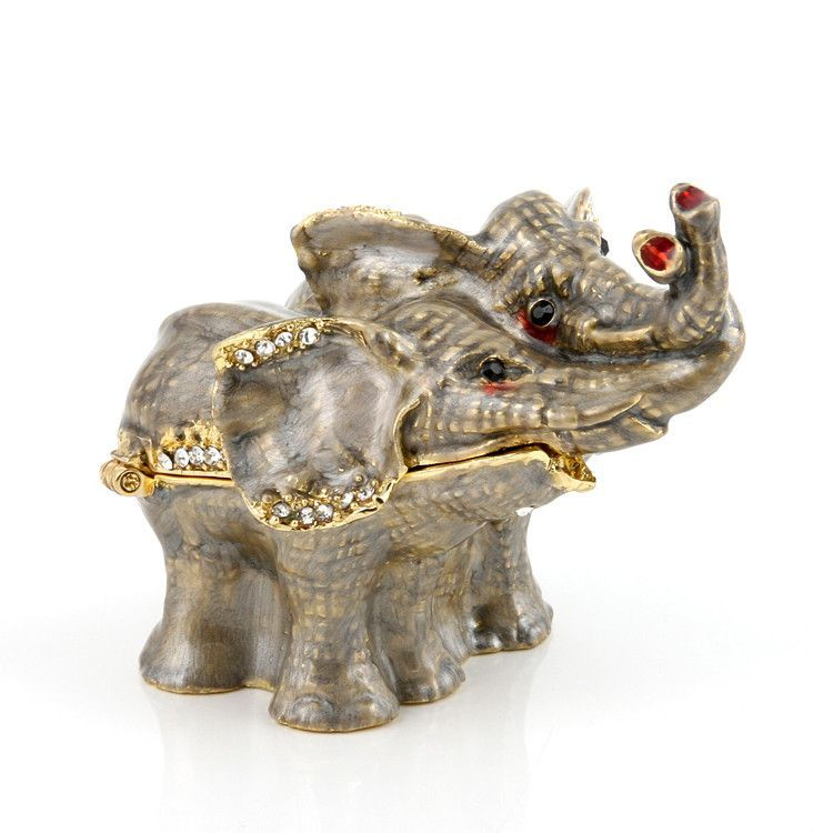 Elephant Couple in Love Trinket Box