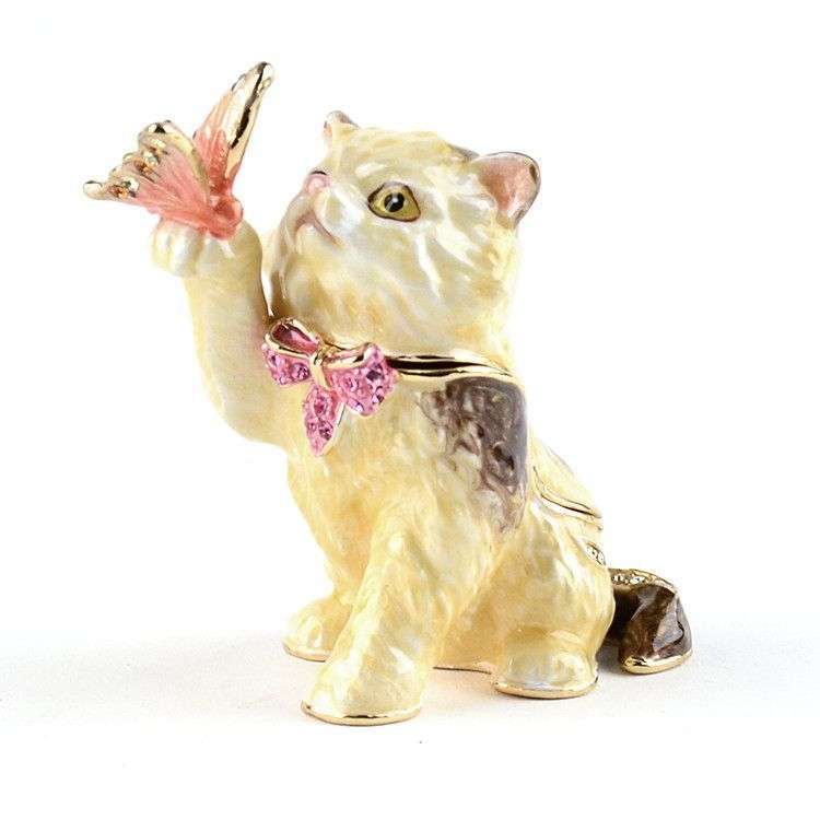Cat With Butterfly Trinket Box
