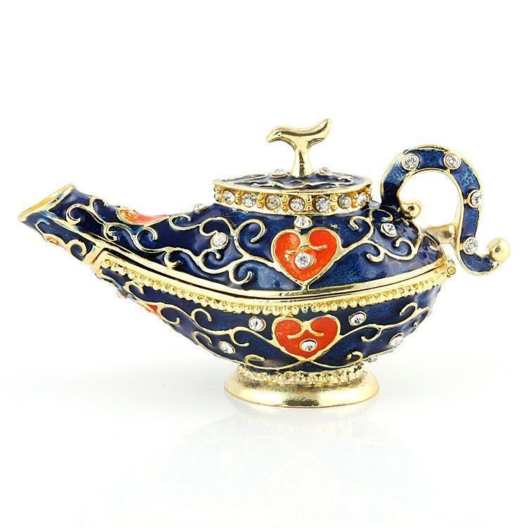 Blue Genie Aladdin Lamp Trinket Box