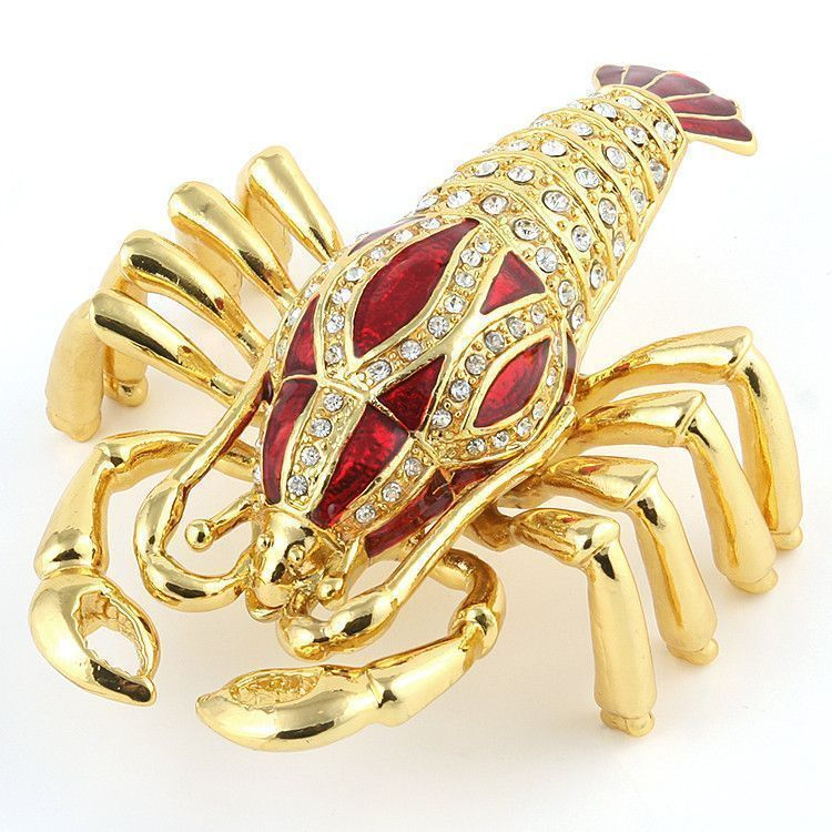 Red and Gold Lobster Trinket Box