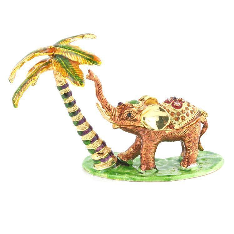Elephant at Palm Tree Trinket Box