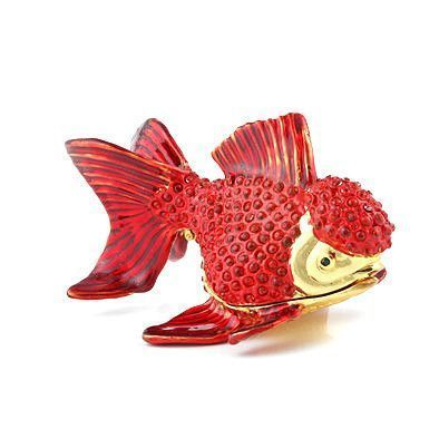 Red Goldfish Hinged Trinket Box