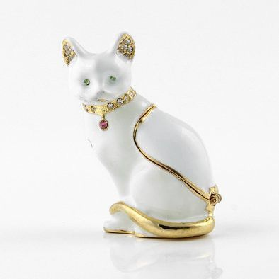 White Sitting Cat Trinket Box