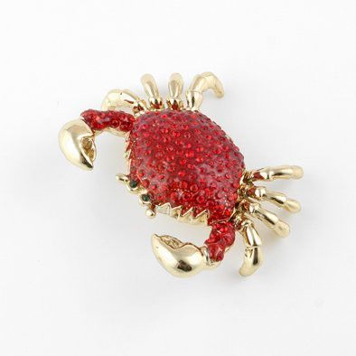Red Crab with Crystals Trinket Box