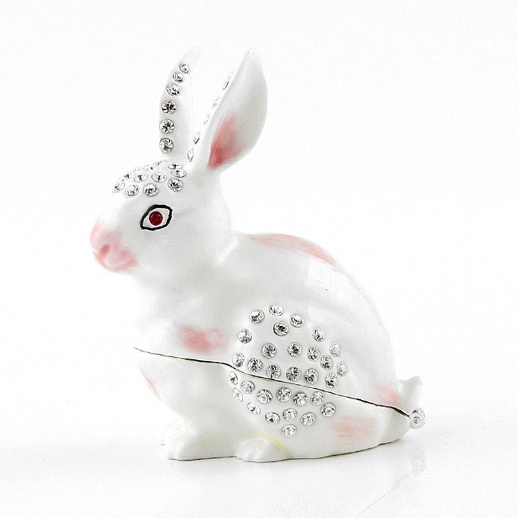 Easter Bunny with Crystals Trinket Box
