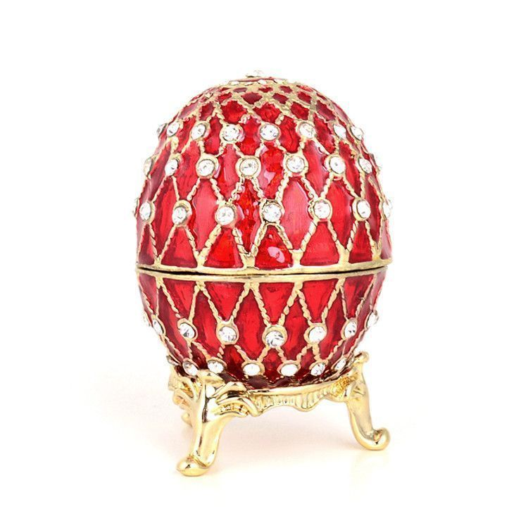 Red Egg Faberge Style Trinket Box