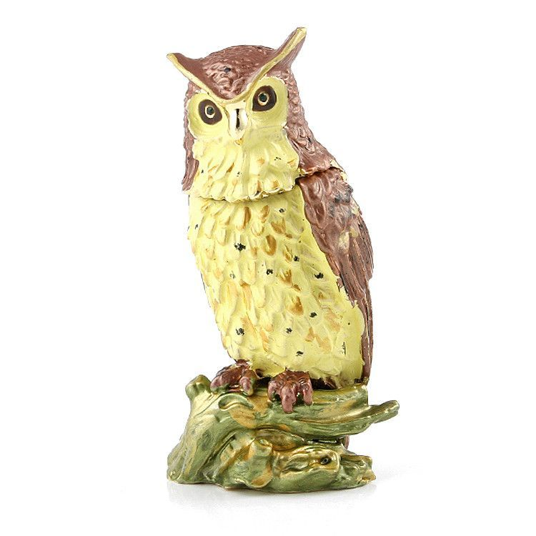 Perched Owl Hinged Trinket Box