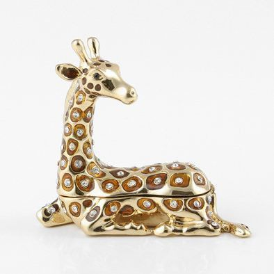 Golden Giraffe Bejeweled Trinket Box