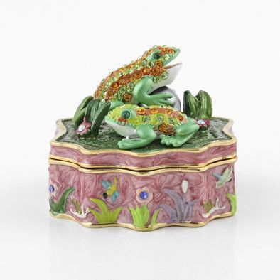 Bejeweled Frogs Friends Trinket Box