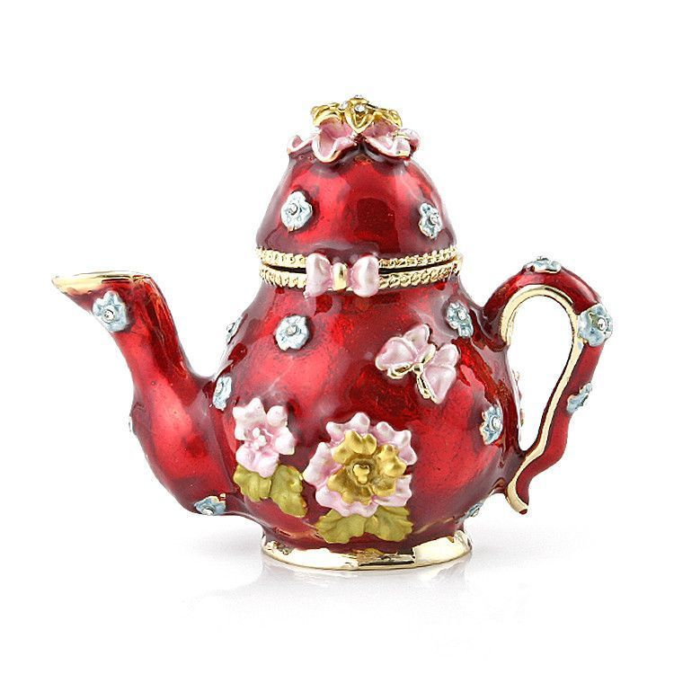 Red Coffee Pot Enamelled Box
