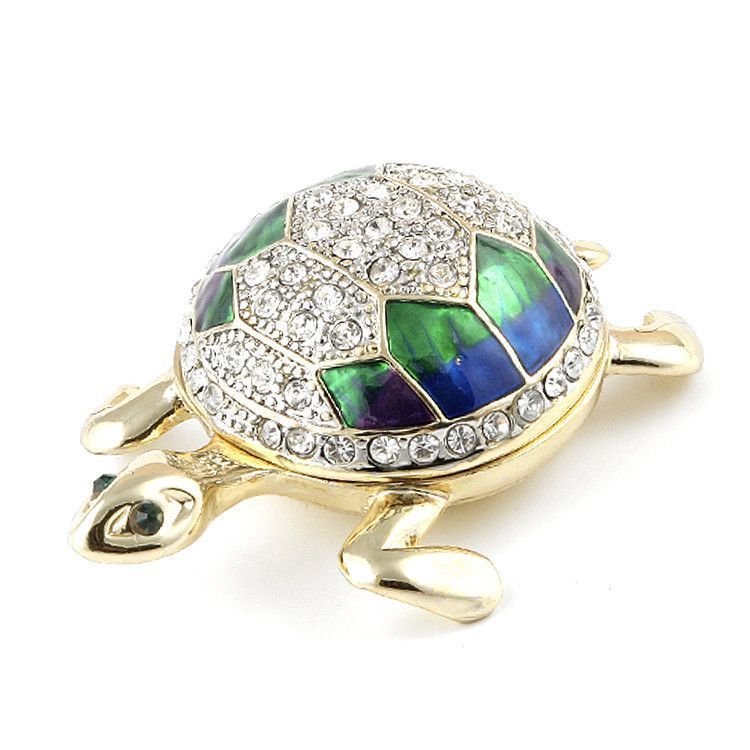 Blue and Green Bejewelled Tutle Box
