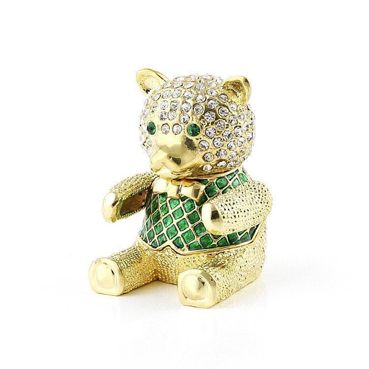 Green Teddy Bear Box with Crystals