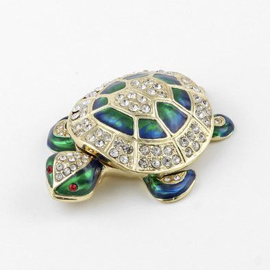 Green and Gold Turtle Jeweled Box