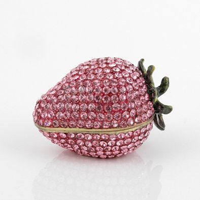 Pink Jewelled Strawberry Trinket Box