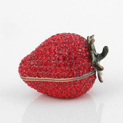Red Strawberry Trinket Box with Crystals