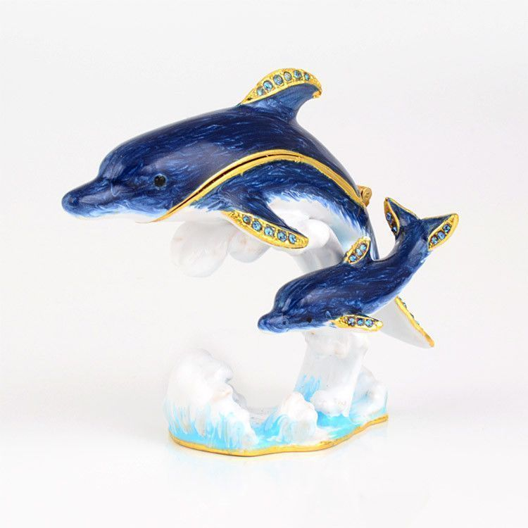 Dolphins in Water Trinket Box