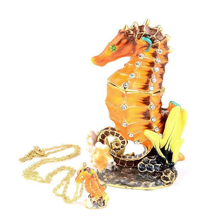 Jeweled Seahorse Trinket Box with Pendant