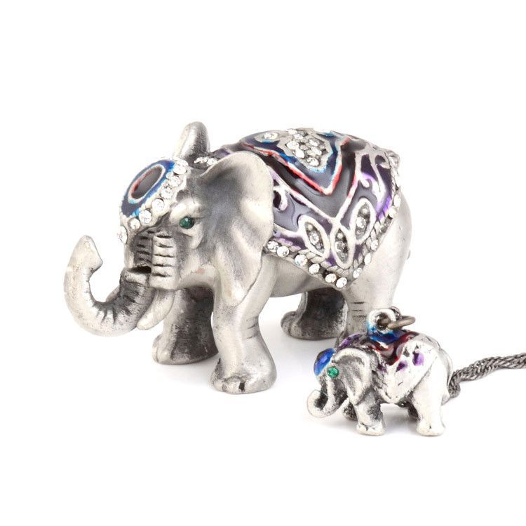 Small Elephant Trinket Box with Pendant