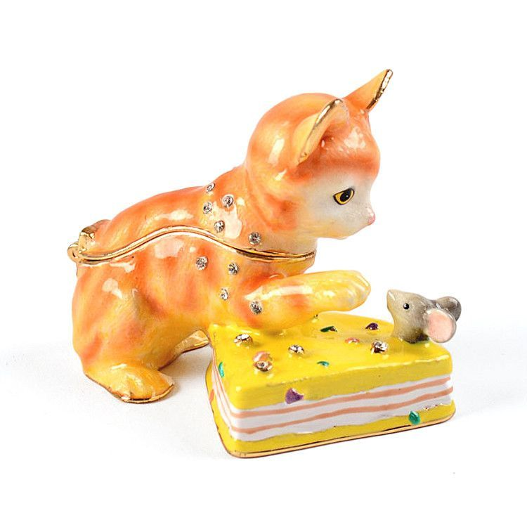 Cat and Mouse with Cheese Trinket Box