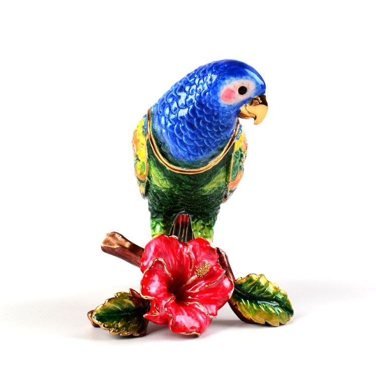 Parrot and Hibiscus Trinket Box