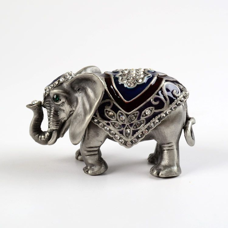 Gray Elephant with Crystals