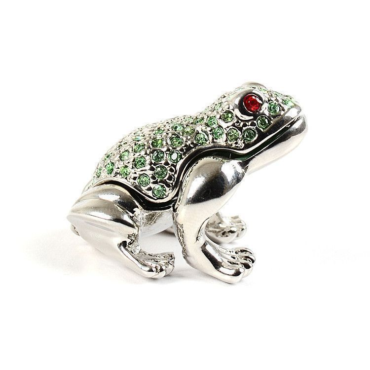 Mini Trinket Box Silver Frog with Crystals