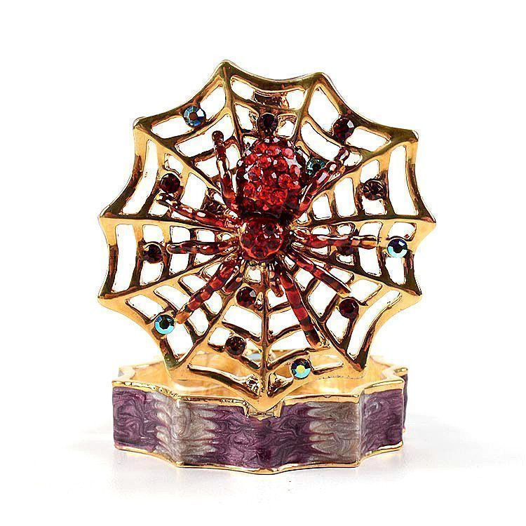 Red Crystal Spider on Web Trinket Box