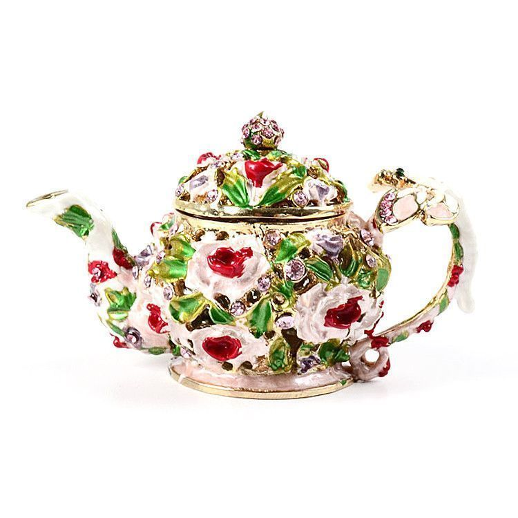 Teapot Trinket with Flowers and Dragonfly Box